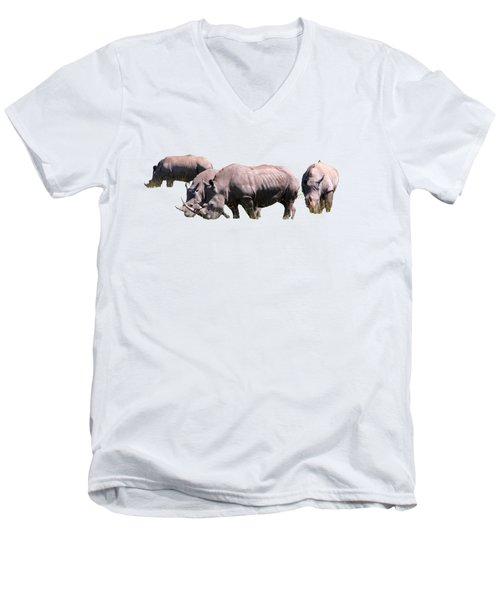 Men's V-Neck T-Shirt featuring the photograph Group Of White Rhino by Aidan Moran