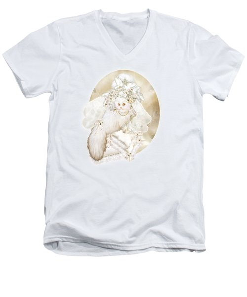 Men's V-Neck T-Shirt featuring the mixed media Cat In Fancy Bridal Hat by Carol Cavalaris