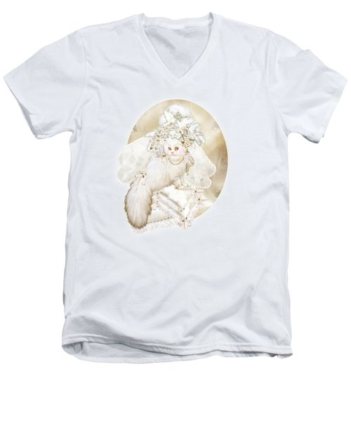 Cat In Fancy Bridal Hat Men's V-Neck T-Shirt