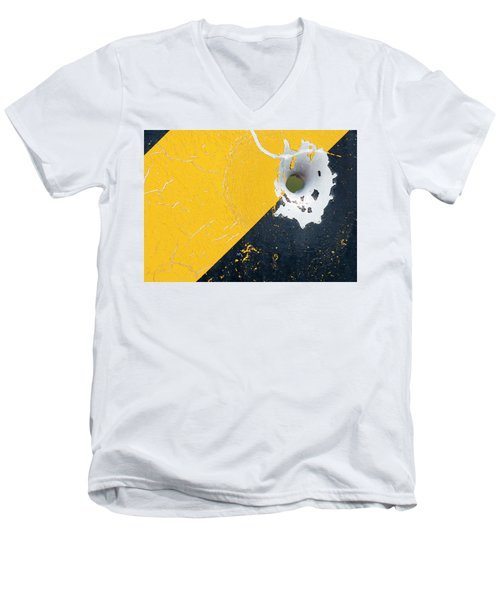 Bullet Hole On The Yellow Black Line Men's V-Neck T-Shirt