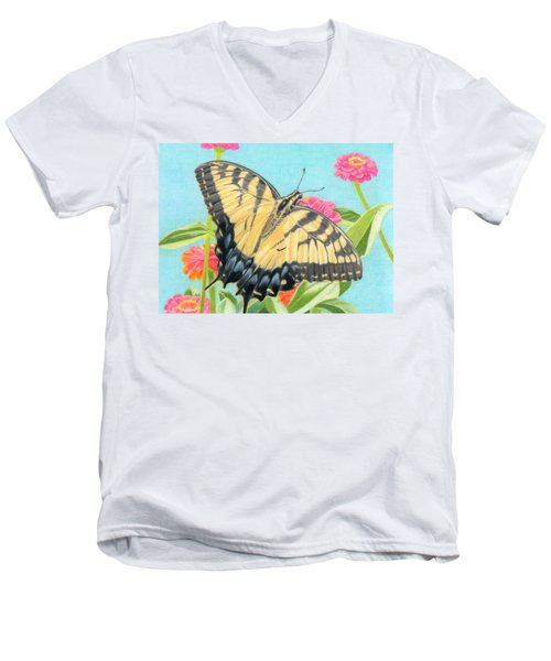Swallowtail Butterfly And Zinnias Men's V-Neck T-Shirt by Sarah Batalka
