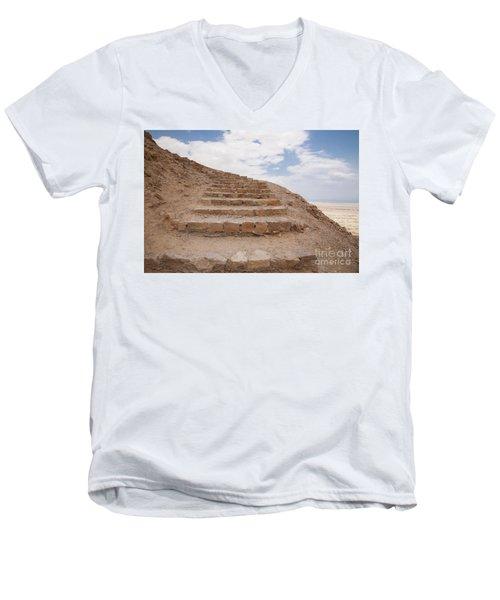 Stairway To Heaven - Masada, Judean Desert, Israel Men's V-Neck T-Shirt by Yoel Koskas