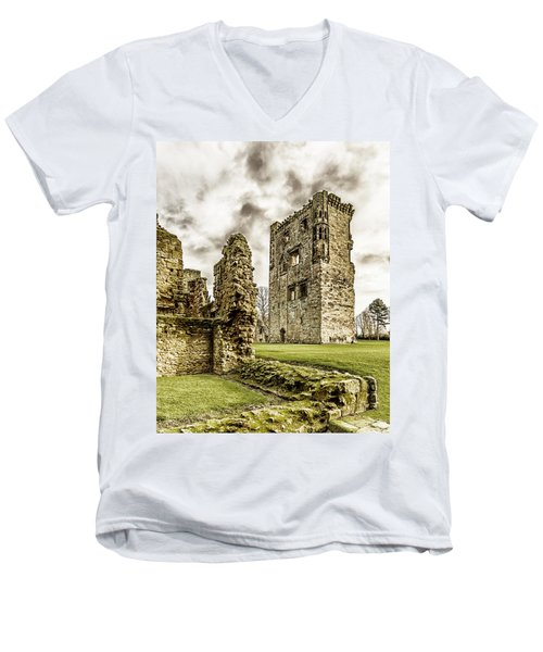 Men's V-Neck T-Shirt featuring the photograph Ashby Castle by Nick Bywater