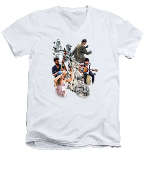 Asheville Buskers Collage Men's V-Neck T-Shirt by John Haldane
