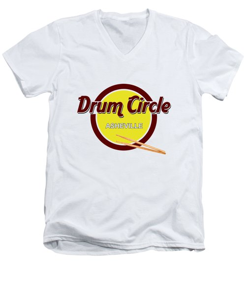Asheville Drum Circle Logo Men's V-Neck T-Shirt by John Haldane
