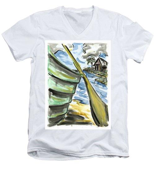 Men's V-Neck T-Shirt featuring the painting Ashore by Robert Joyner