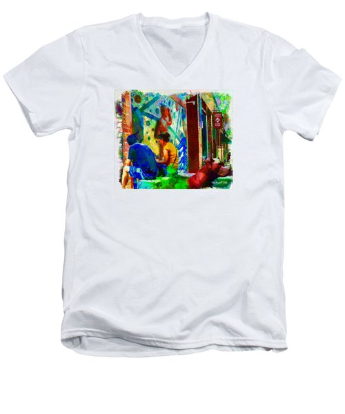 Ashville Art District Men's V-Neck T-Shirt by Ted Azriel