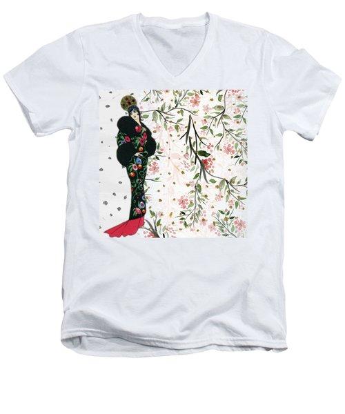 Asian Art Deco Beauty Men's V-Neck T-Shirt