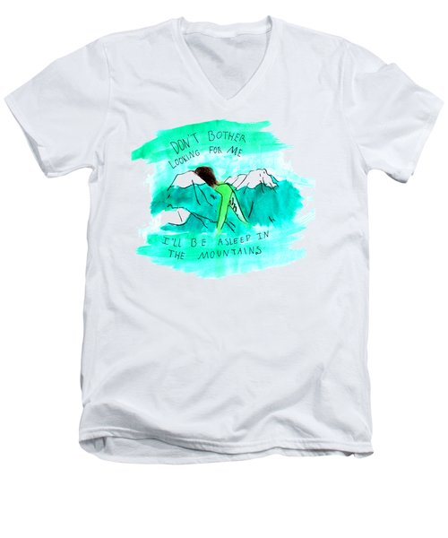 Asleep In The Mountains Men's V-Neck T-Shirt