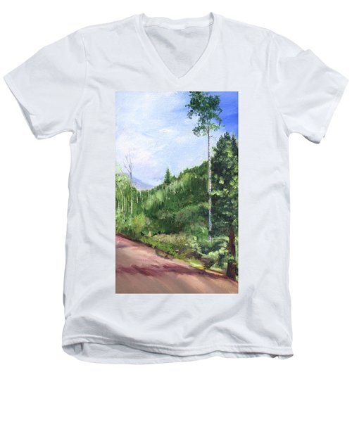 Men's V-Neck T-Shirt featuring the painting Aspen Heaven by Jane Autry