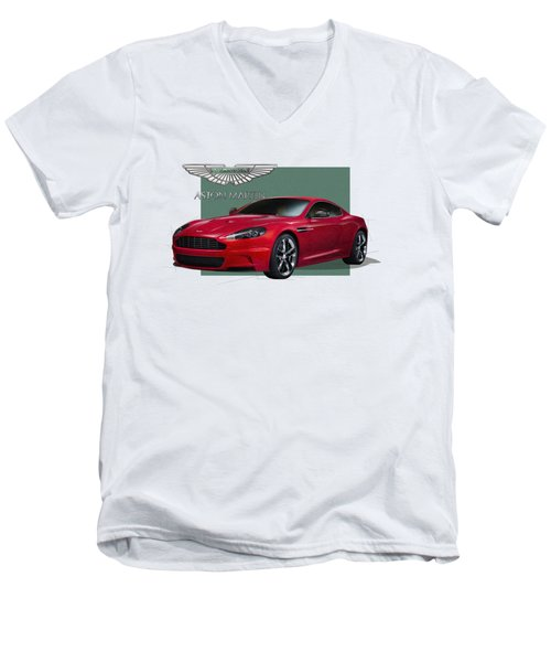 Aston Martin  D B S  V 12  With 3 D Badge  Men's V-Neck T-Shirt by Serge Averbukh