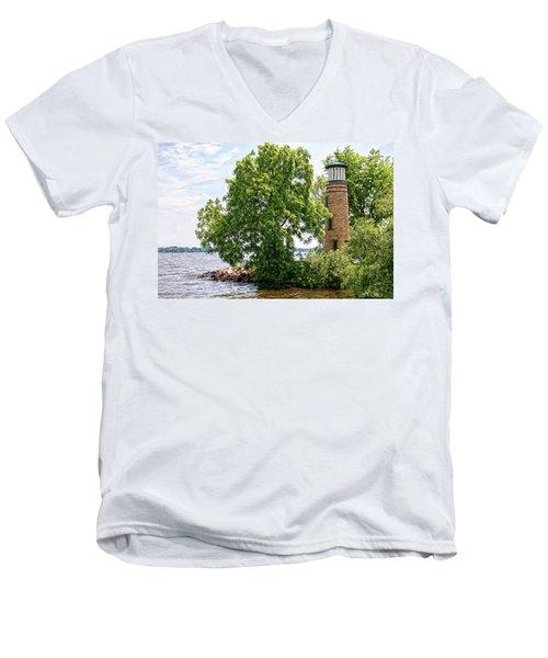Asylum Point Lighthouse 1 Men's V-Neck T-Shirt by Trey Foerster