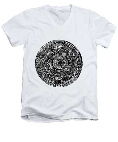 Asymmetry Men's V-Neck T-Shirt by Elizabeth Davis