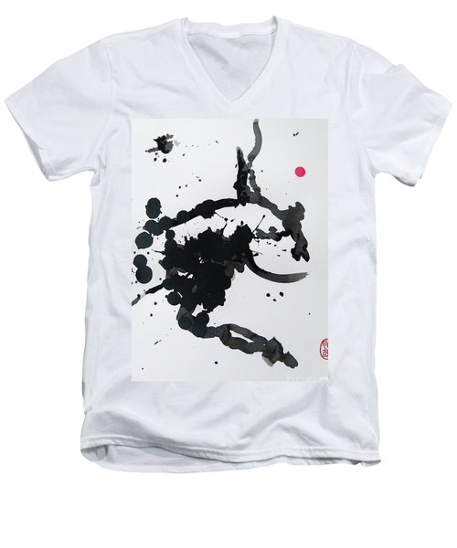 Men's V-Neck T-Shirt featuring the painting Asymmetry Inspires Grace by Roberto Prusso