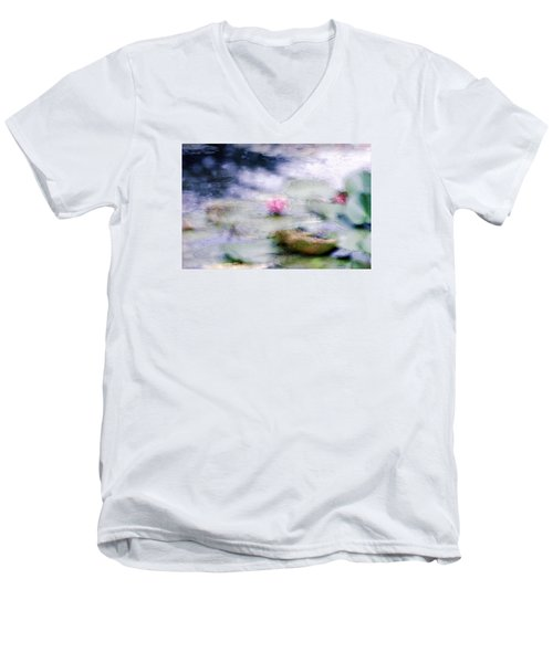 Men's V-Neck T-Shirt featuring the photograph At Claude Monet's Water Garden 12 by Dubi Roman