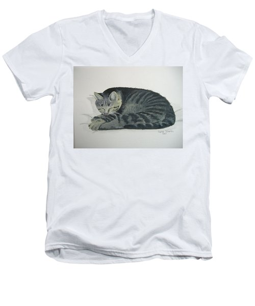 Men's V-Neck T-Shirt featuring the painting At Rest by Norm Starks