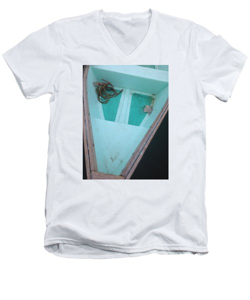 Men's V-Neck T-Shirt featuring the photograph At The Dock by Olivier Calas