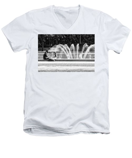 At The Fountain Men's V-Neck T-Shirt