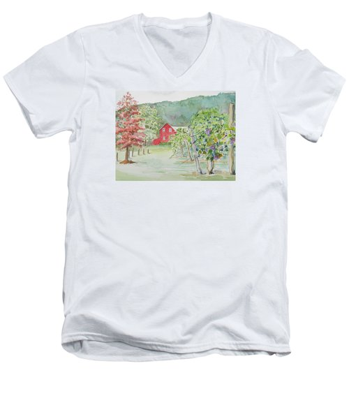 At The Winery Men's V-Neck T-Shirt by Christine Lathrop
