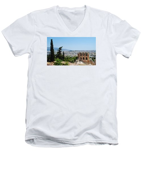 Men's V-Neck T-Shirt featuring the photograph Athens From Acropolis by Robert Moss