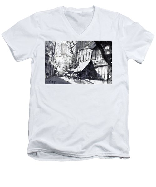 Athens Morning Walk Mono Men's V-Neck T-Shirt by Sof Georgiou