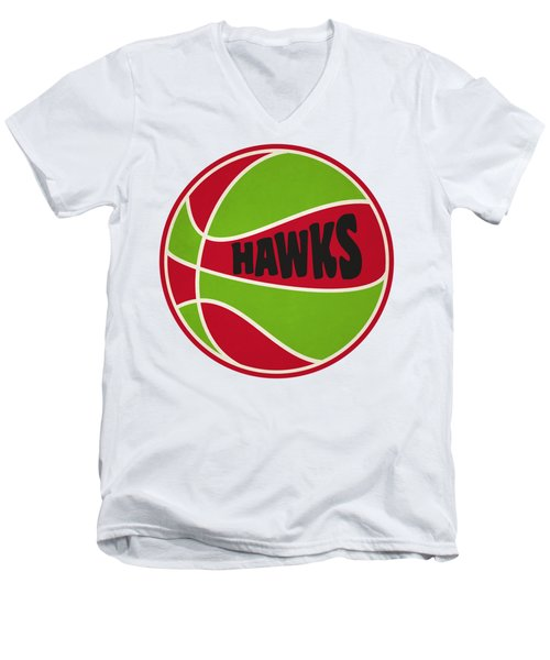 Men's V-Neck T-Shirt featuring the photograph Atlanta Hawks Retro Shirt by Joe Hamilton