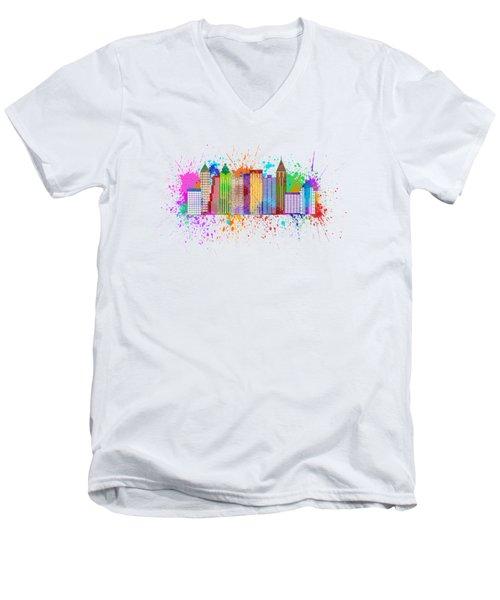 Atlanta Skyline Paint Splatter Illustration Men's V-Neck T-Shirt