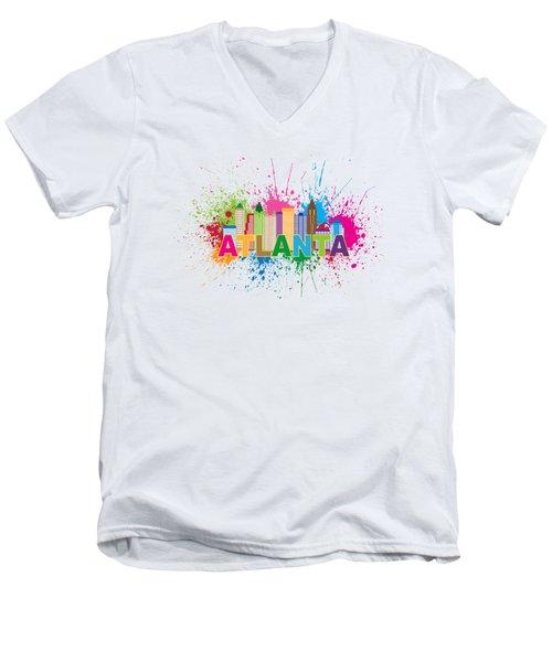Atlanta Skyline Paint Splatter Text Illustration Men's V-Neck T-Shirt