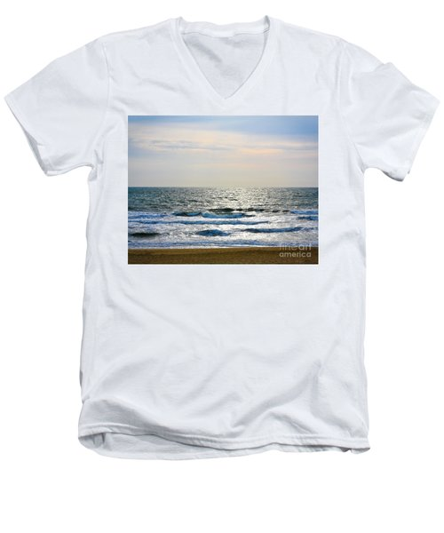 Atlantic Sunrise - Sandbridge Virginia Men's V-Neck T-Shirt