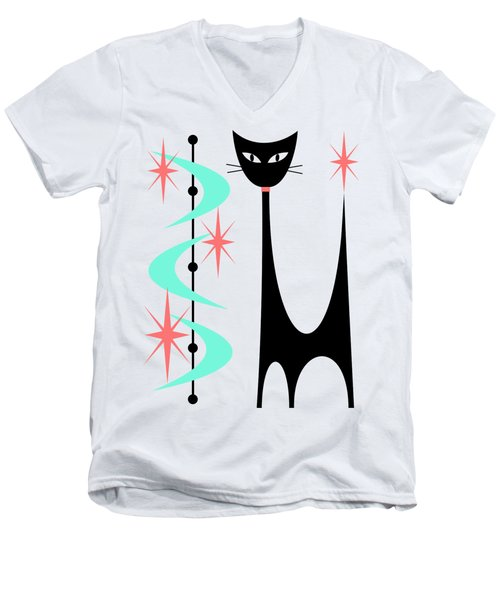 Atomic Cat Aqua And Pink  Men's V-Neck T-Shirt