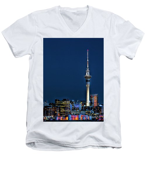 Auckland Skytower Men's V-Neck T-Shirt by Karen Lewis