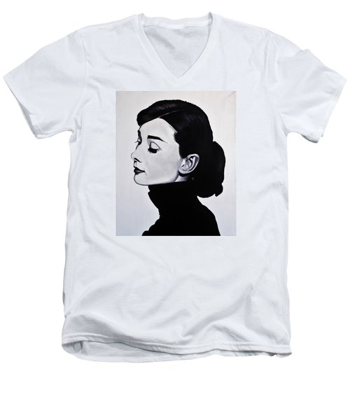 Audrey Hepburn 1 Men's V-Neck T-Shirt by Brian Broadway