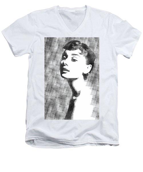 Audrey Hepburn Bw Portrait Men's V-Neck T-Shirt by Mihaela Pater