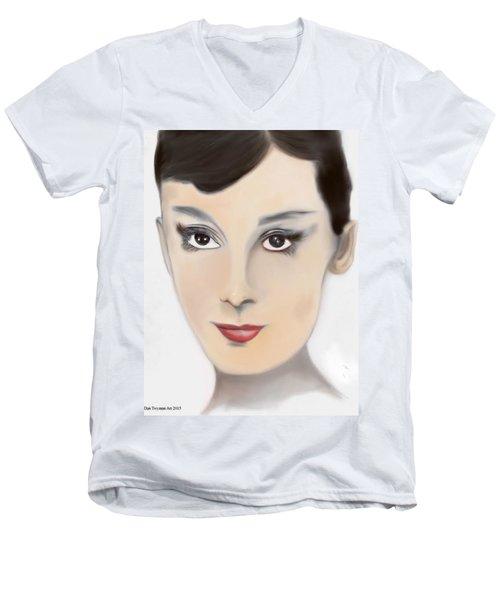 Audrey Hepburn Color Men's V-Neck T-Shirt