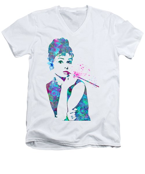 Audrey Hepburn Watercolor Pop Art  Men's V-Neck T-Shirt by Mary Alhadif