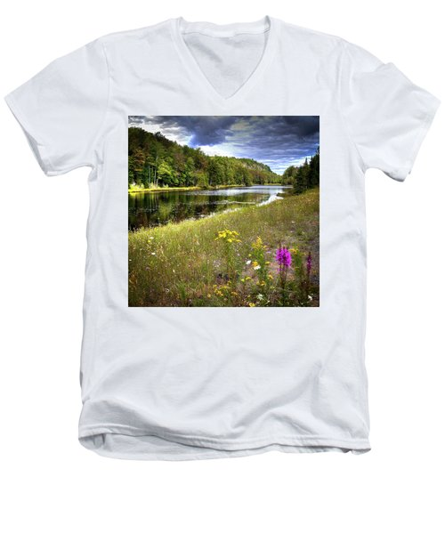 Men's V-Neck T-Shirt featuring the photograph August Flowers On The Pond by David Patterson