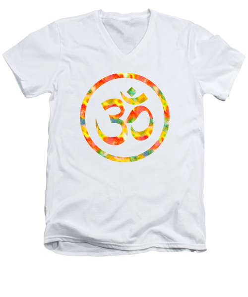Men's V-Neck T-Shirt featuring the painting Aum Symbol Abstract Digital Painting by Georgeta Blanaru