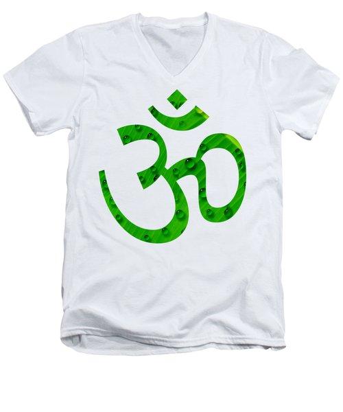 Men's V-Neck T-Shirt featuring the painting Aum Symbol Digital Painting by Georgeta Blanaru
