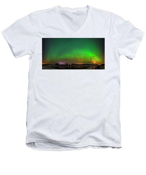 Aurora Over Pond Panorama Men's V-Neck T-Shirt by Dan Jurak