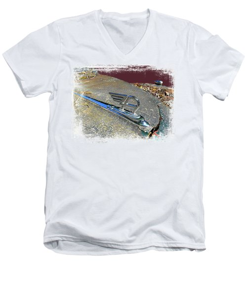 Men's V-Neck T-Shirt featuring the photograph Austin A40 Somerset Flying A by Nick Kloepping