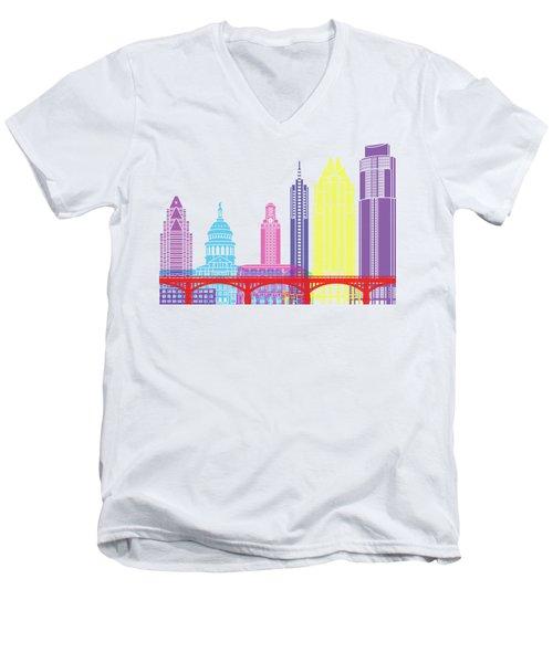 Austin Skyline Pop Men's V-Neck T-Shirt by Pablo Romero