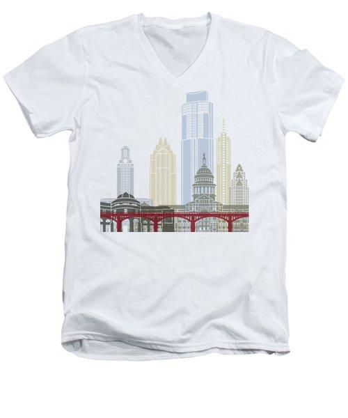 Austin Skyline Poster Men's V-Neck T-Shirt by Pablo Romero