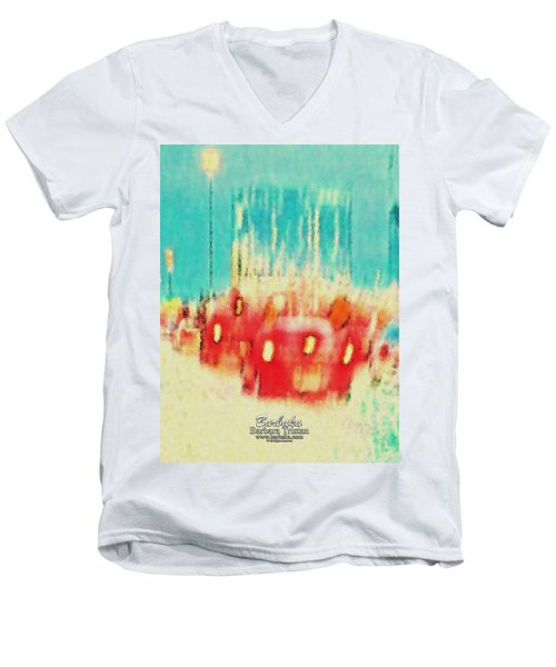 Men's V-Neck T-Shirt featuring the photograph Austin Traffic by Barbara Tristan