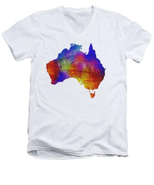 Australia And Sydney Harbour Bridge By Kaye Menner Men's V-Neck T-Shirt by Kaye Menner