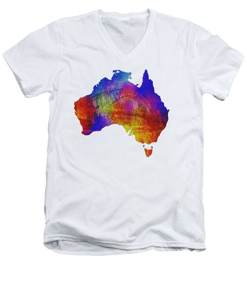 Australia And Sydney Harbour Bridge By Kaye Menner Men's V-Neck T-Shirt
