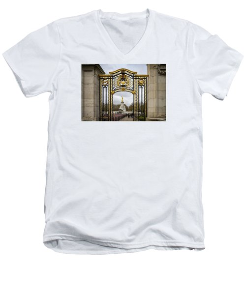 Men's V-Neck T-Shirt featuring the photograph Australia Gate Towards Queen Victoria's Statue by Shirley Mitchell