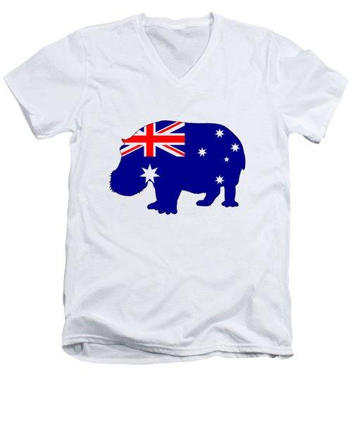 Australian Flag - Hippopotamus Men's V-Neck T-Shirt by Mordax Furittus