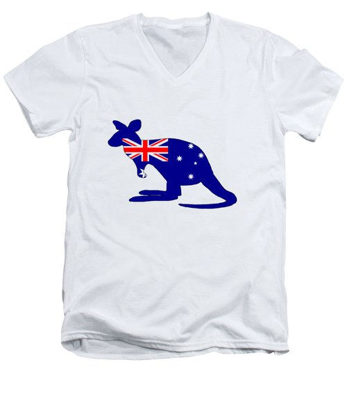 Australian Flag - Kangaroo Men's V-Neck T-Shirt by Mordax Furittus