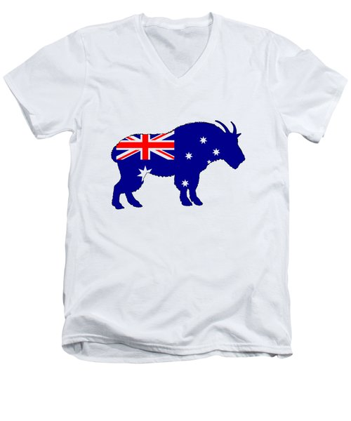 Australian Flag - Mountain Goat Men's V-Neck T-Shirt by Mordax Furittus