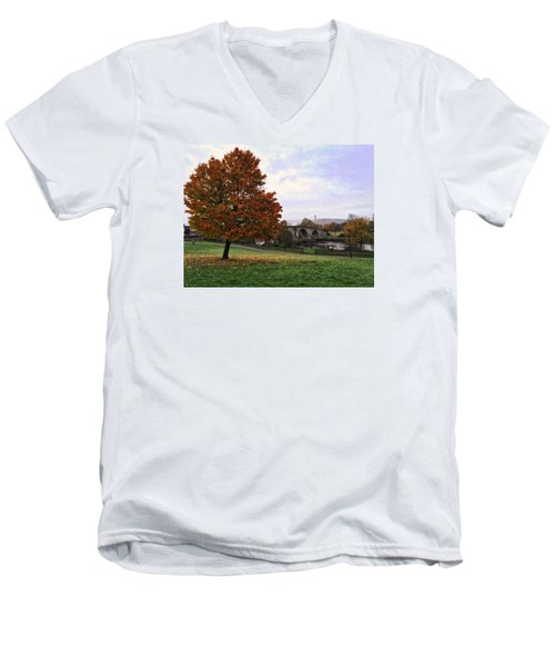 Men's V-Neck T-Shirt featuring the photograph Autumn At Stirling Bridge by RKAB Works
